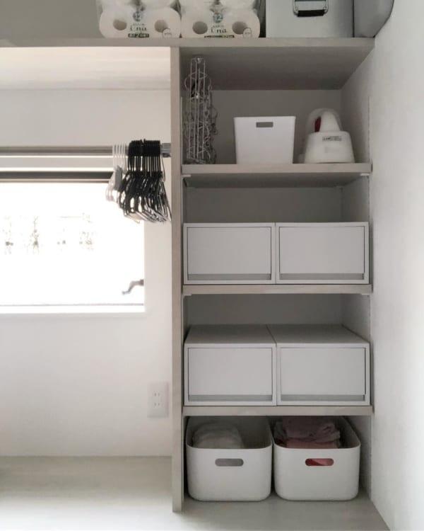 オープン棚の使いやすい収納&家事スペース