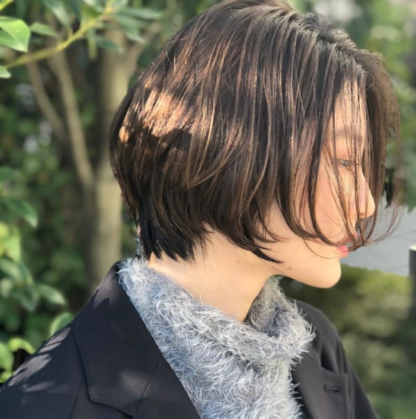 面長さんに似合う前髪なし×ボブ×黒髪・暗髪4