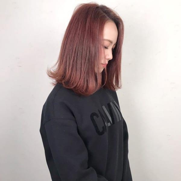 面長さんに似合う前髪なし×ボブ×カラーヘア6