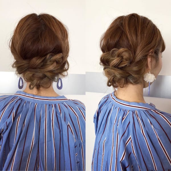 三つ編みだけで簡単まとめ髪