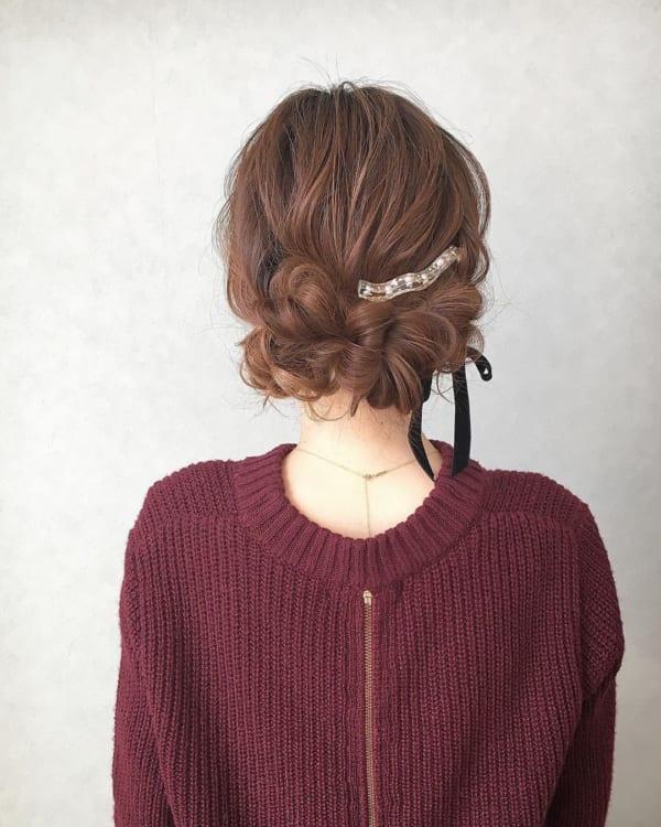 くるりんぱだけのまとめ髪
