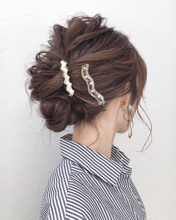 横くるりんぱの簡単まとめ髪
