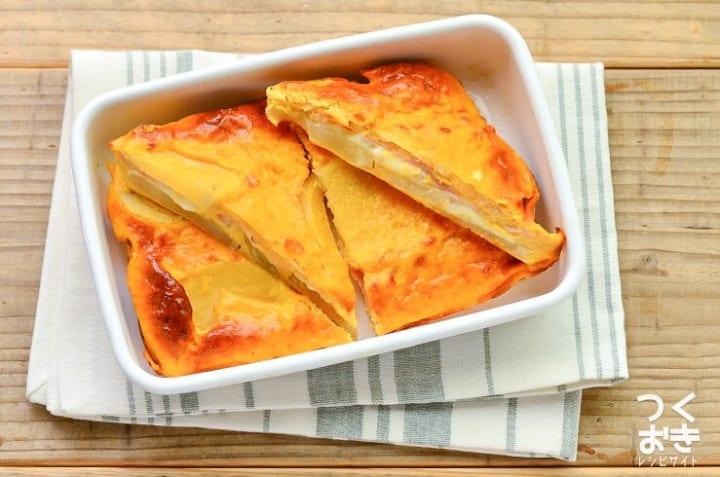 天ぷらの料理にじゃがいも入りチーズハムオムレツ