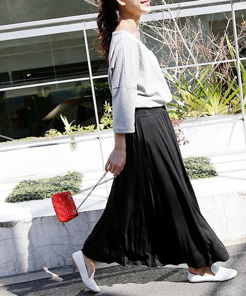 [coca] 選べるカラバリ!落ち感フレアロングスカート