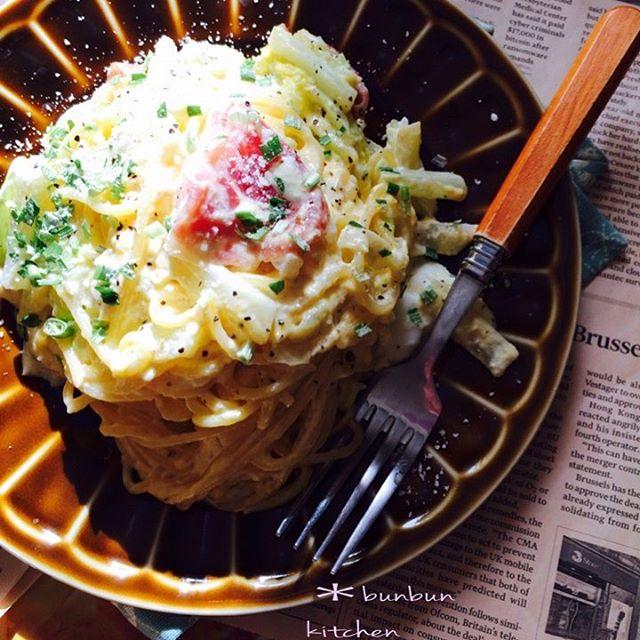 話題のおつまみに!白菜と生ハムのカルボナーラ