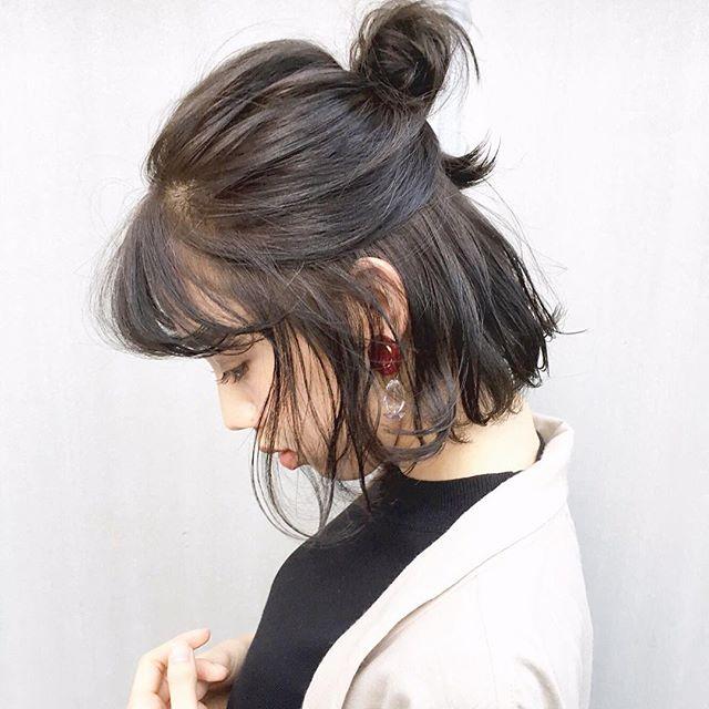 黒髪お団子ハーフアップヘアアレンジ