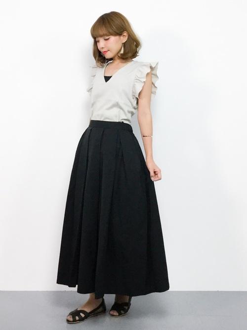 [select MOCA] 【新色登場】【再入荷】ボリュームフレア立体シルエットウエスト後ろゴムロング丈スカート