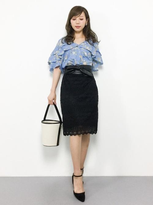 [haco!] 伸びる素材で楽して女っぽくレースタイトスカート