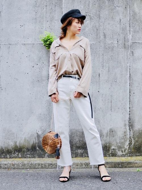 ミリタリーシャツ×カットオフワイドパンツ