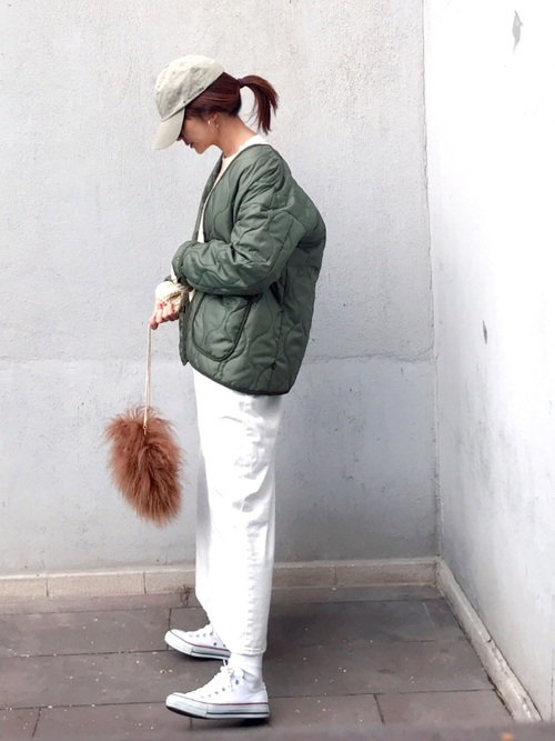 マキシ白デニムスカート×キルトジャケット
