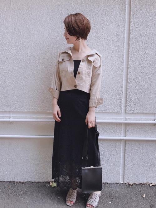 [natural couture] 大花レース大人フレアスカート