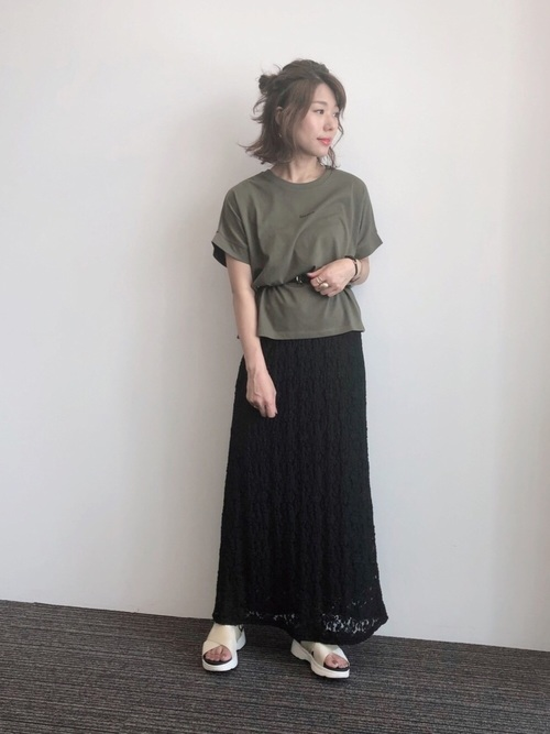 [Green Parks] ・SUGAR SPOON レースナロースカート*