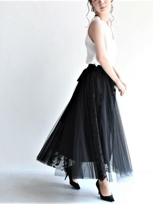 [FRENCH PAVE] (黒)優雅な気分を纏うチュールとレースのドッキングミディアムスカート