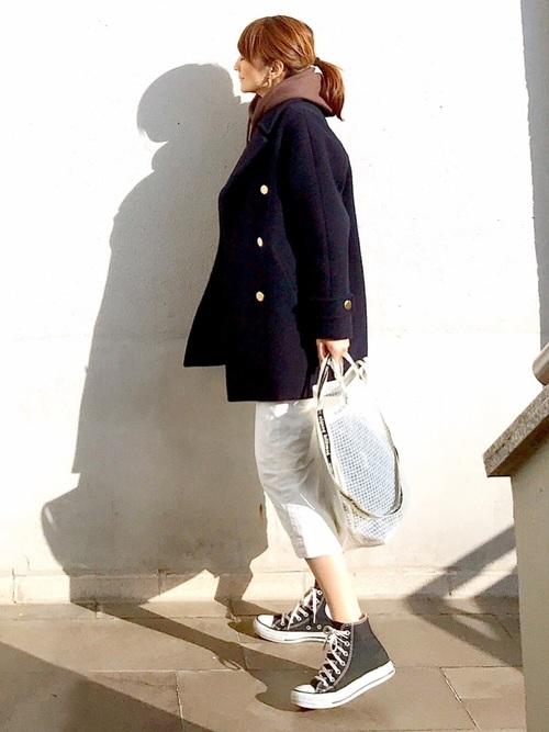 ビッグピーコート×タイトスカート