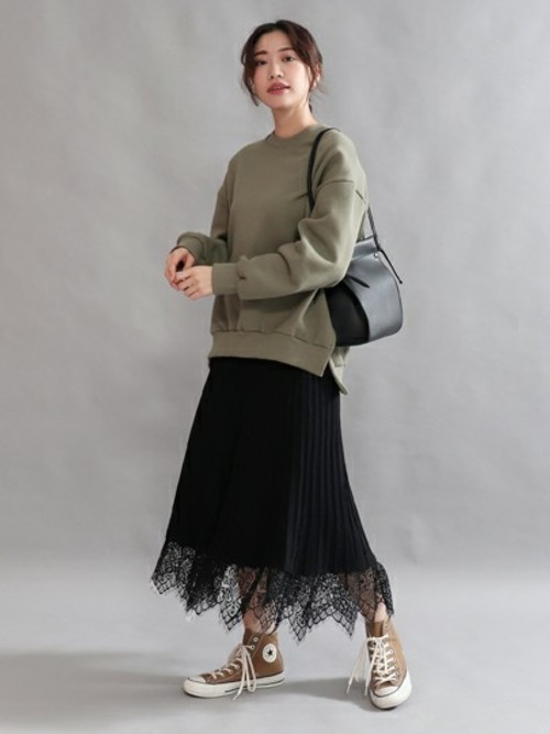 [AULI] リブレースフレアニットスカート