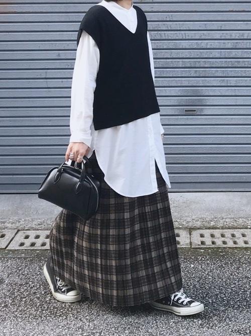 [YARD PLUS/AUNT MARIE'S] Libra チェック柄プリーツスカート