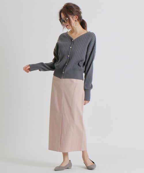 [Rouge vif la cle] 細コールベルト付きスカート