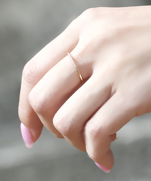 [L&Co.] K10 マイクロセッティング ダイヤモンド リング