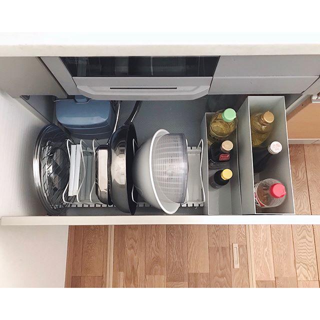 キッチンドロワーのボックスを使うアイデア