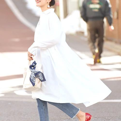 [coca] 【新色登場】オーバーフレアスキッパーシャツワンピース
