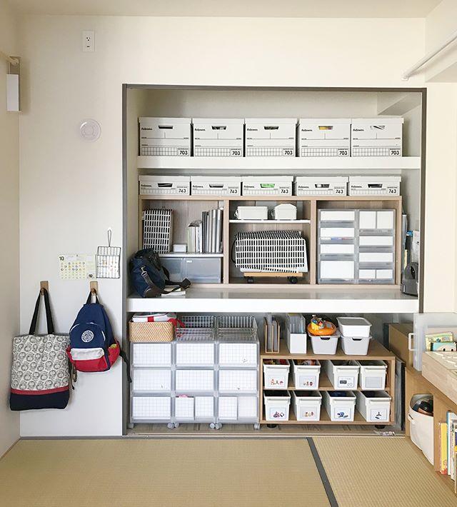 棚やボックスを追加した大容量収納