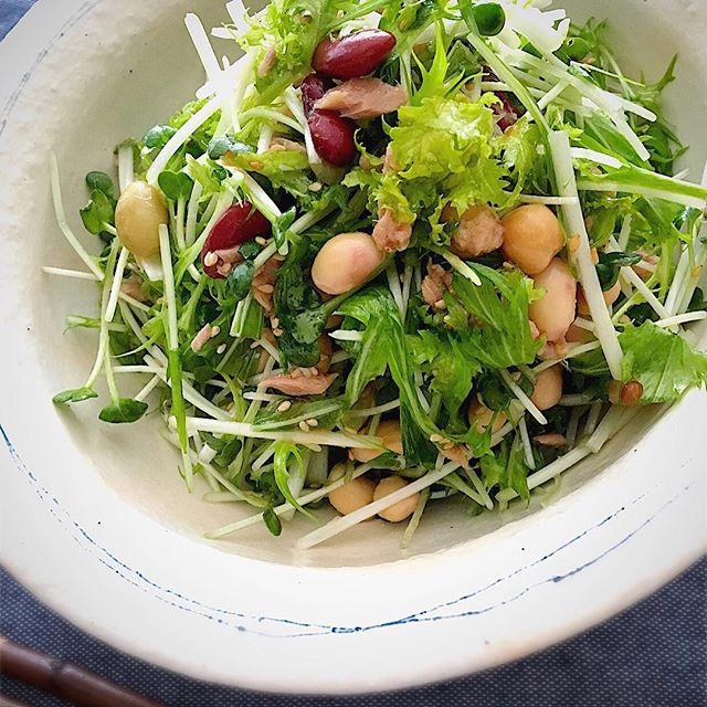 美味しい副菜に!香味野菜と豆のツナサラダ