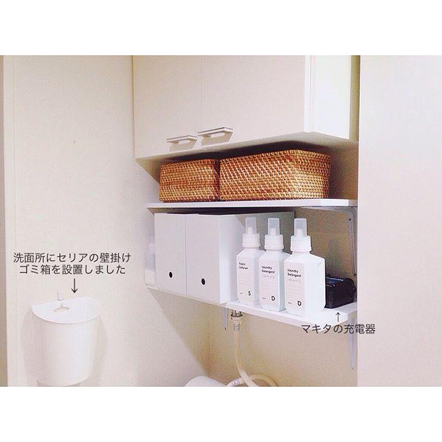 デッドスペースを上手に使った可愛い洗面所