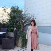 【エピセ毎日コーデ】青空に映える♡ピンクのワンピースを着て友人とテラスでランチ♪(3/21コーデ)