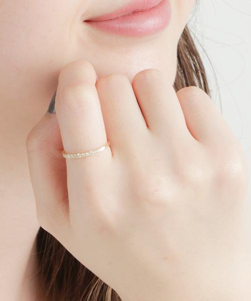 [ete] K18YG ダイヤモンド リング「レイヤード」