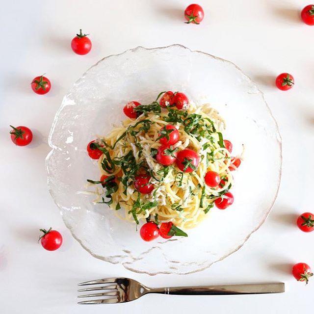完熟ミニトマトとしらすの冷製パスタ