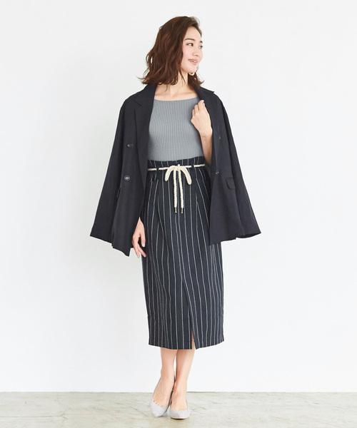 [ur's] ストライプタイトスカート