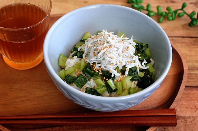 休日は簡単に!お昼ご飯は野沢菜漬けとしらす丼