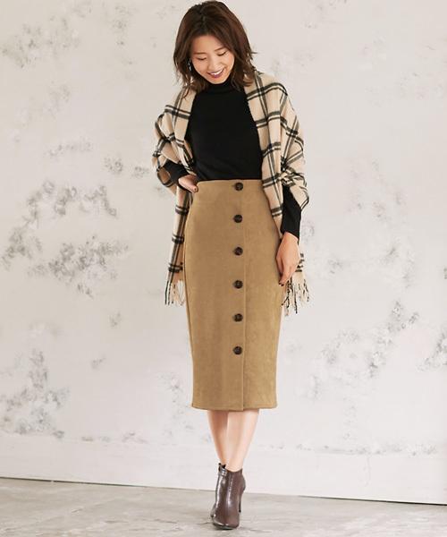 [Pierrot] スエードフロントボタンタイトスカート