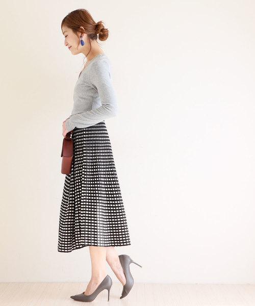 [Sawa a la mode] モノトーンプリーツ風チェックが可愛いミモレ丈スカート