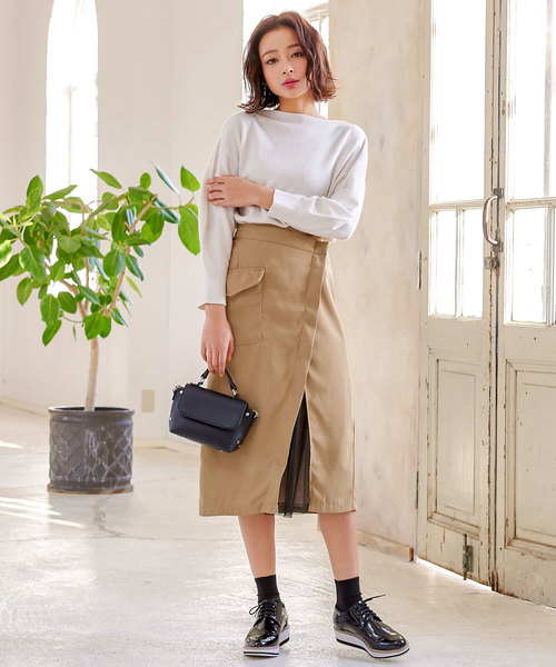 [kobelettuce] 裾チュールアシンメトリータイトスカート*レディース/ボトムス[M2345]神戸レタス