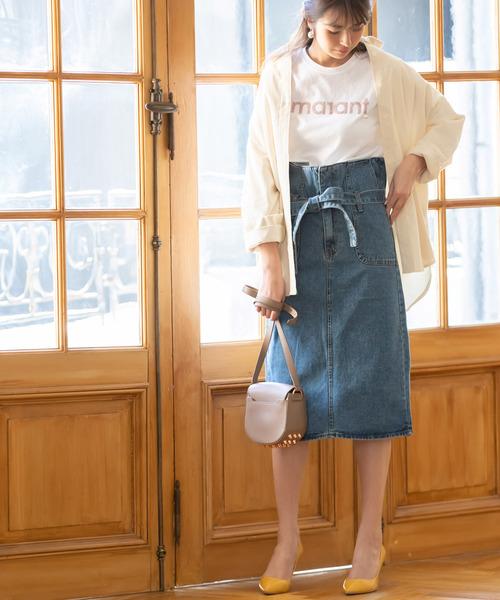 [tocco closet] ハイウエストリボンデニムスカート