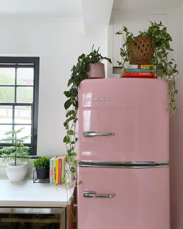 ピンク色の冷蔵庫
