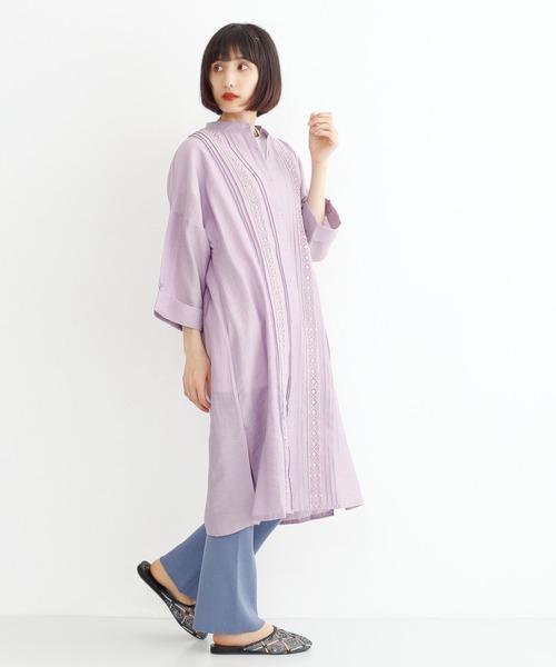 [merlot] 刺繍レースピンタックシャツワンピース8320
