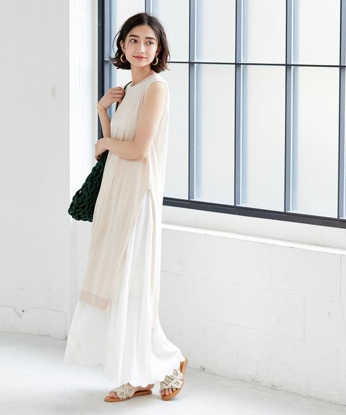 着回しを楽しむ◎白スカート×スリットワンピ