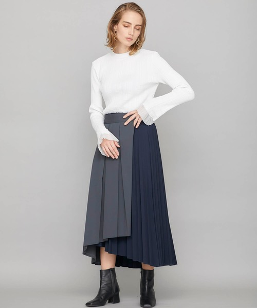 [STUDIOUS WOMENS] 【STUDIOUS】アシンメトリー ラッププリーツスカート