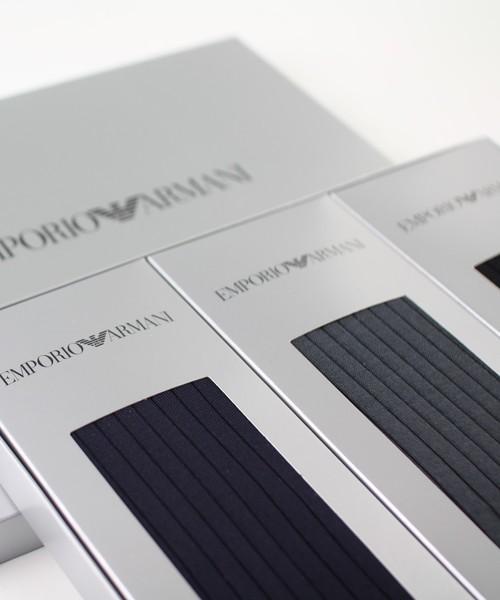 [NAIGAI] EMPORIO ARMANI メンズ イーグルロゴ ビジネスリブソックス 3足組ギフトセット EA-3P