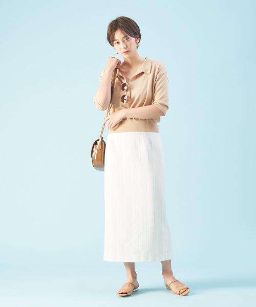 五分袖丈ニット×タイトロングスカート