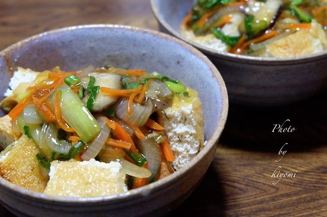 人気の美味しいレシピ!油揚げの野菜あんかけ