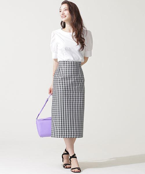 [nano・universe] nanoco/ギンガムチェックタイトスカート
