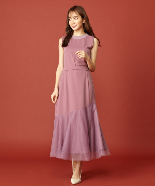 [Roomy's] チュールレイヤードカットフレアスカート
