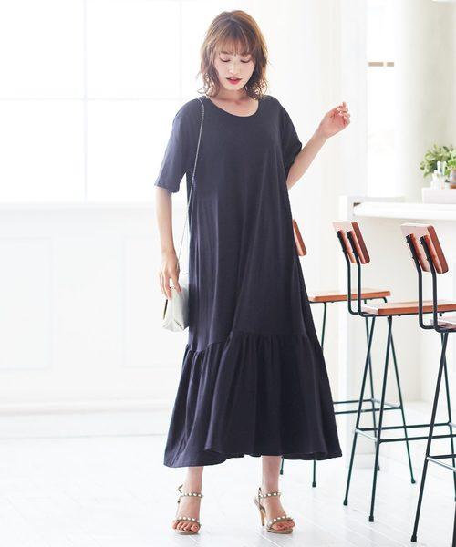 [kobelettuce] 裾ティアード半袖カットソーマキシ丈ワンピース