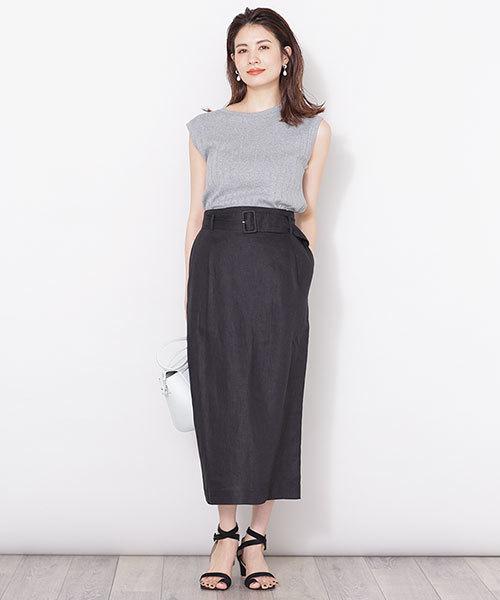 [nano・universe] フレンチリネンベルト付きIラインスカート