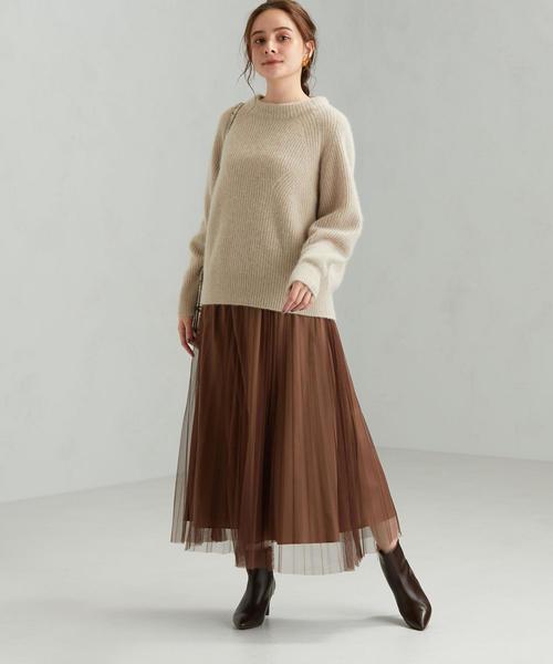 秋カラーでフェミニンなチュールスカートコーデ
