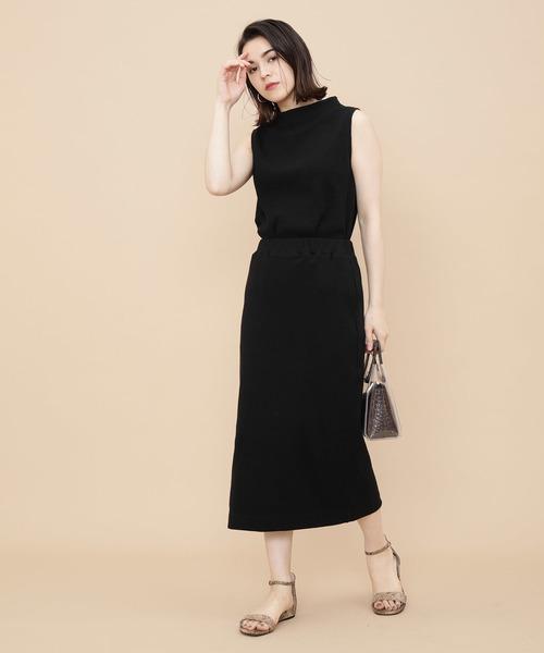 大人ファッション◎テレコスカート×黒カットソー