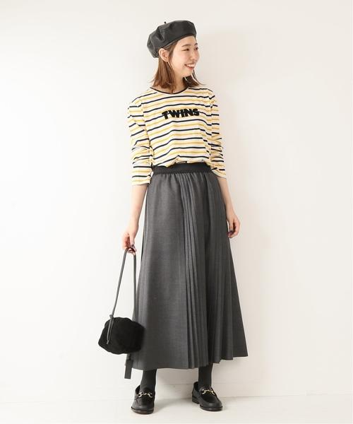 ボーダーロゴTシャツ×マキシスカート